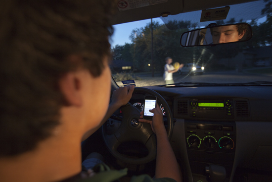 Dangers of texting while driving, Boys' Life, October 2011