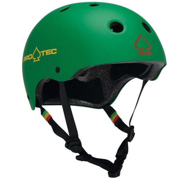 Pro-Tec Classic Matte Rasta Green - Certified ($50; protecbrand.com): This helmet design has been a classic for the past 40 years, but this one is updated with a dual-certified EPS foam liner (CPSC/CE certified).