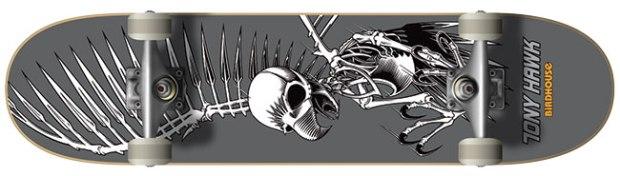 "Birdhouse Tony Hawk Full Skull Complete ($81; birdhouseskateboards.com): Deck is 7.75"" x 30"" with Birdhouse trucks and wheels."