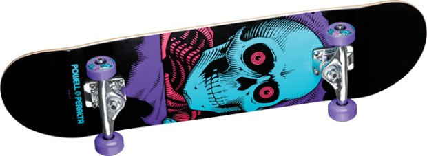 "Powell Peralta Ripper Purple Complete ($84; powell-peralta.com): Deck is 8"" x 32"" with Skate One trucks and 53 mm wheels (99a)."