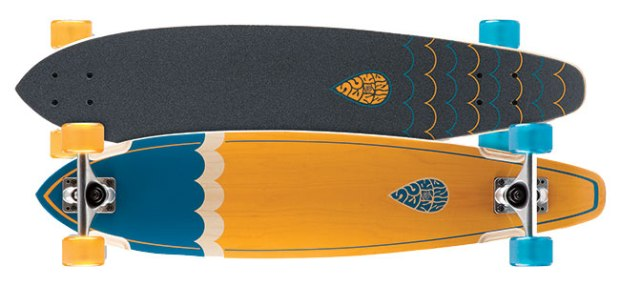 """Sector 9 Highline ($125; sector9.com): Deck is 8"""" x 34.5"""" with Gullwing 8.0 Mission trucks, ABEC 5 bearings and 64 mm Nineball wheels (78a)."""