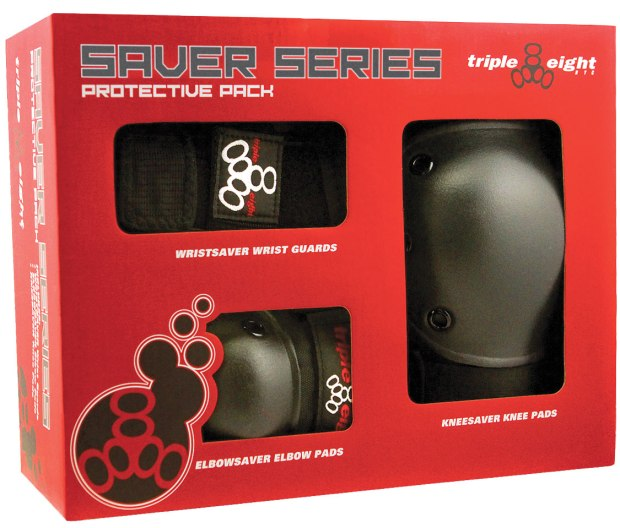Triple 8 Saver Series 3-Pack Box ($30-$35; triple8.com): Protect yourself with Kneesaver, Wristsaver and Elbowsaver pads made with EVA foam padding and hard polycarbonate coverage caps.