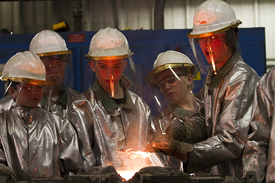 Metalworks Merit Badge work by Boy Scouts at University of Northern Iowa Industrial Technology Center