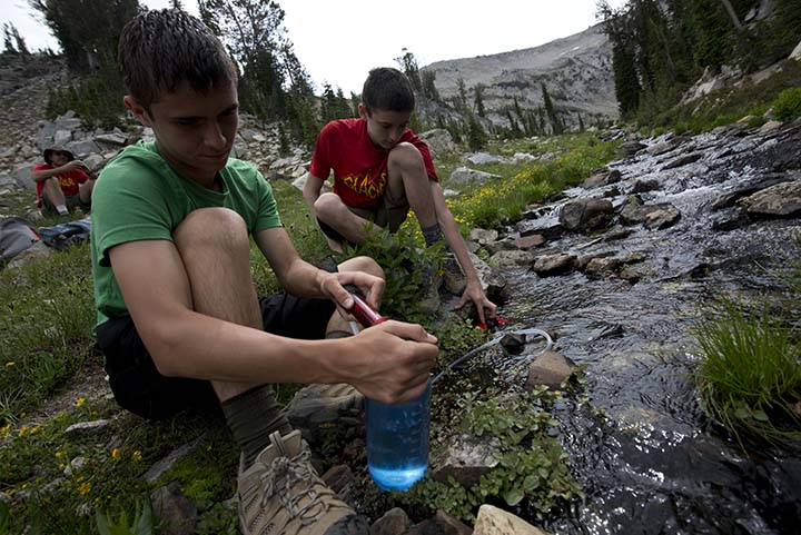 Boy Scouts from Troop 224 backpack in the Eagle Cap Wilderness in northeastern Oregon.
