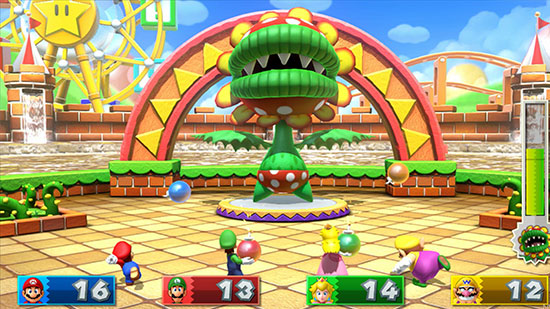 Mario Party 10 bombs throwing at chomp