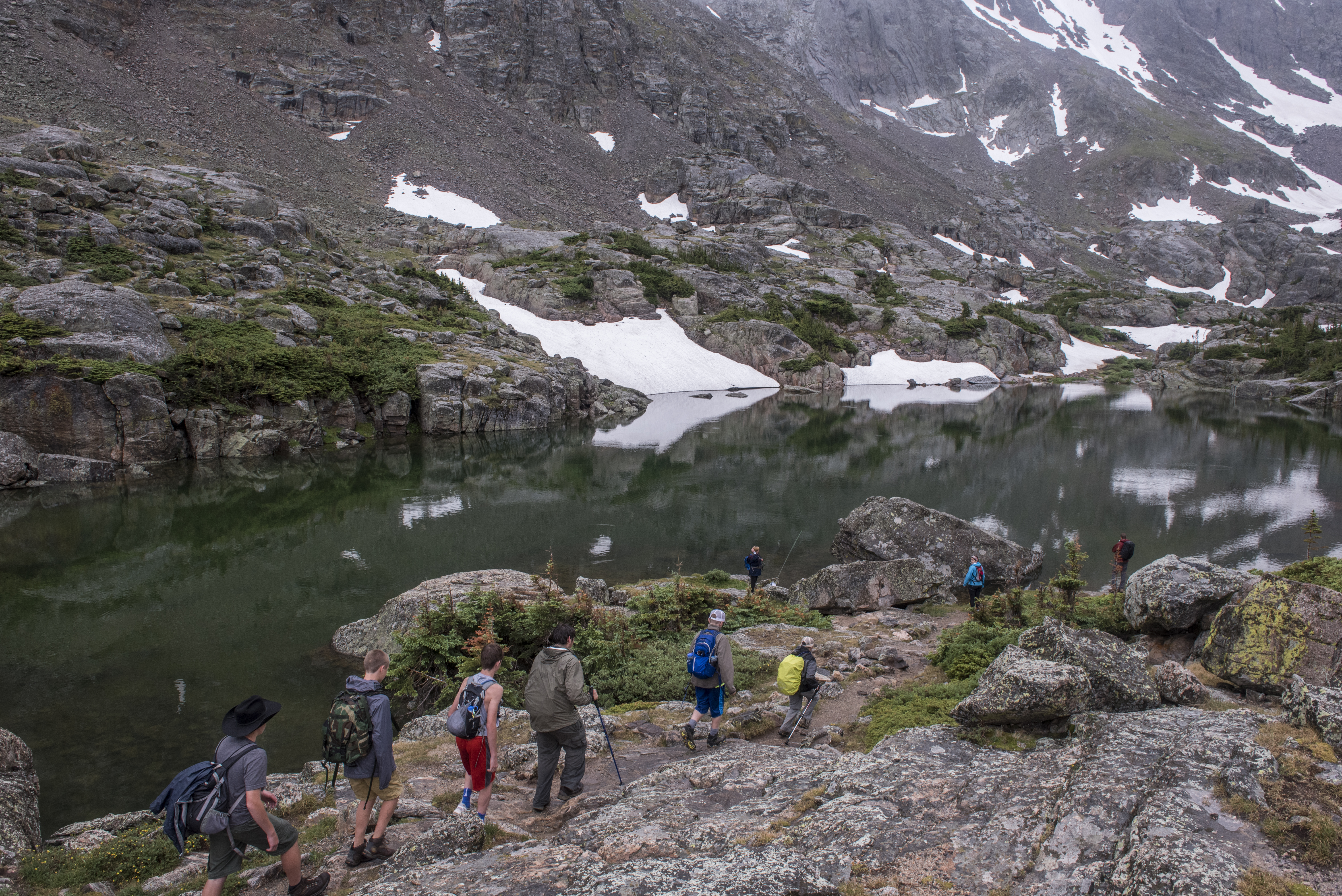 Scouts from  PA  hike during a cloudy, rainy day through Loch Valle, on the trail to Sky Pond, in Rocky Mountain National Park, Colorado