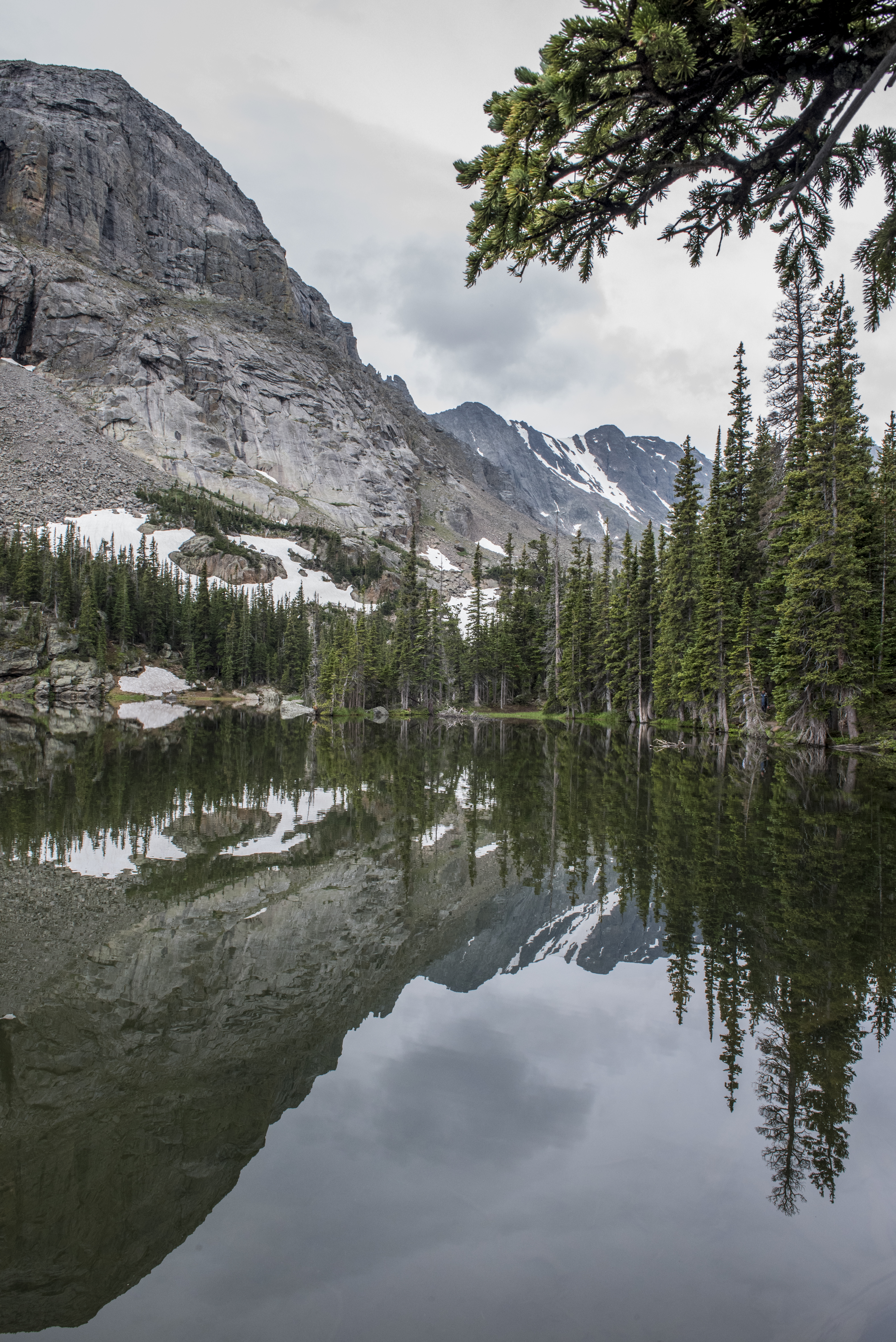 Rocky cliffs are reflected in a small alpine lake in Loch Vale, on the trail to Sky Pond, Rocky Mountain National Park, Colorado.