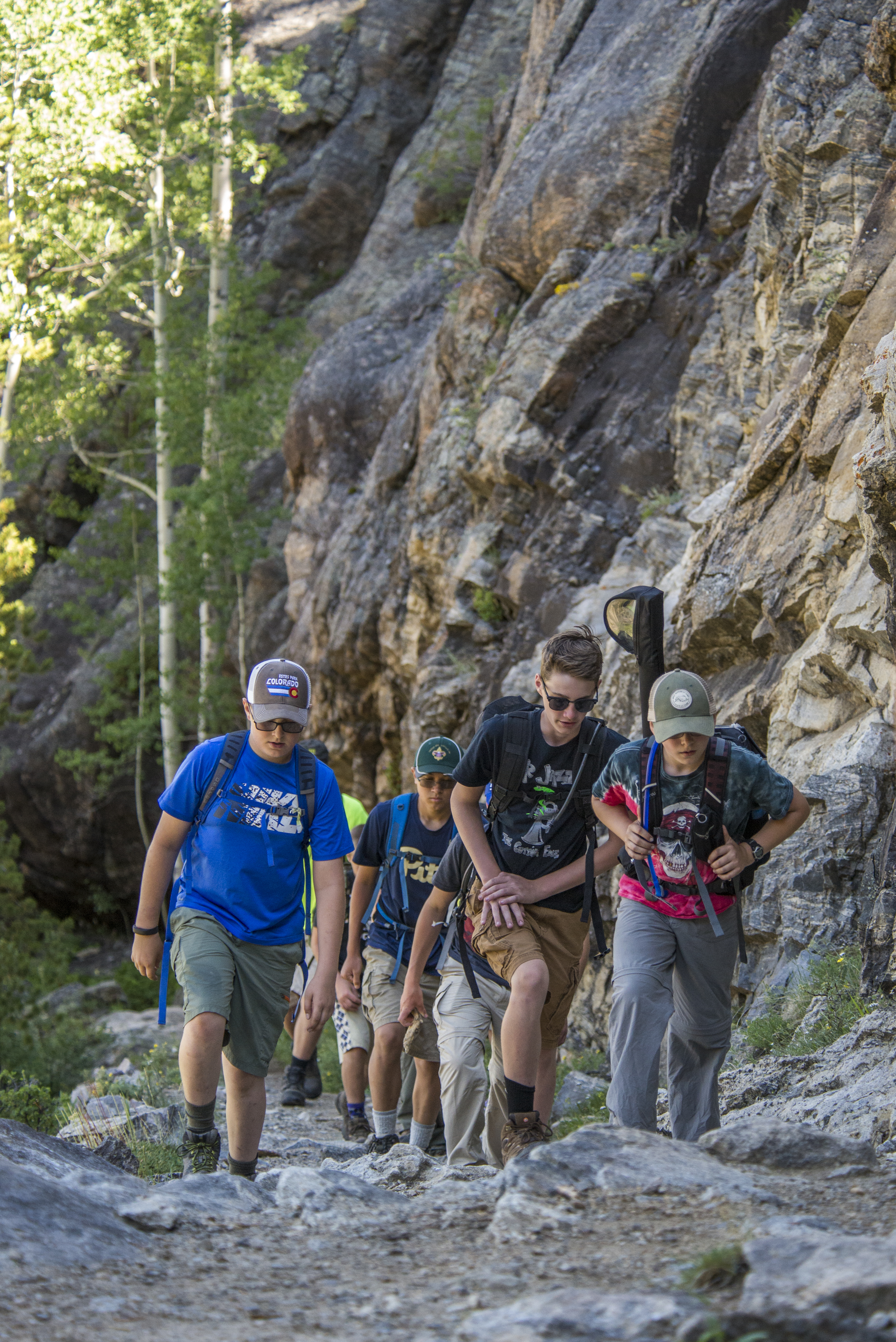 Scouts of Troop 208 from PA hike on the trail to Lone Pine Lake, in Rocky Mountain National Park, during a two week adventure trip to Colorado