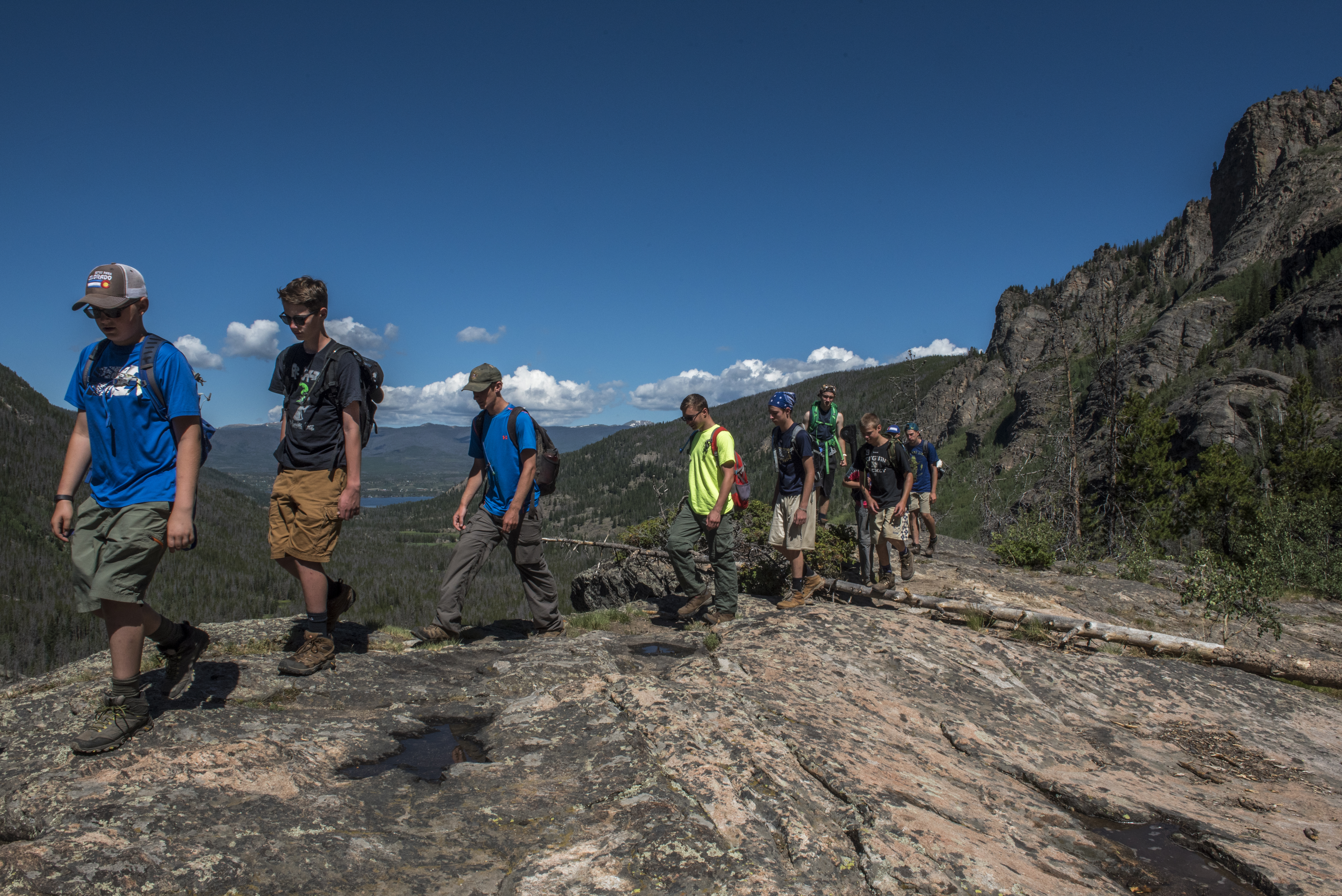 Scouts from PA hike on the East Inlet trail in Rocky Mountain National Park, during a two week adventure trip to Colorado