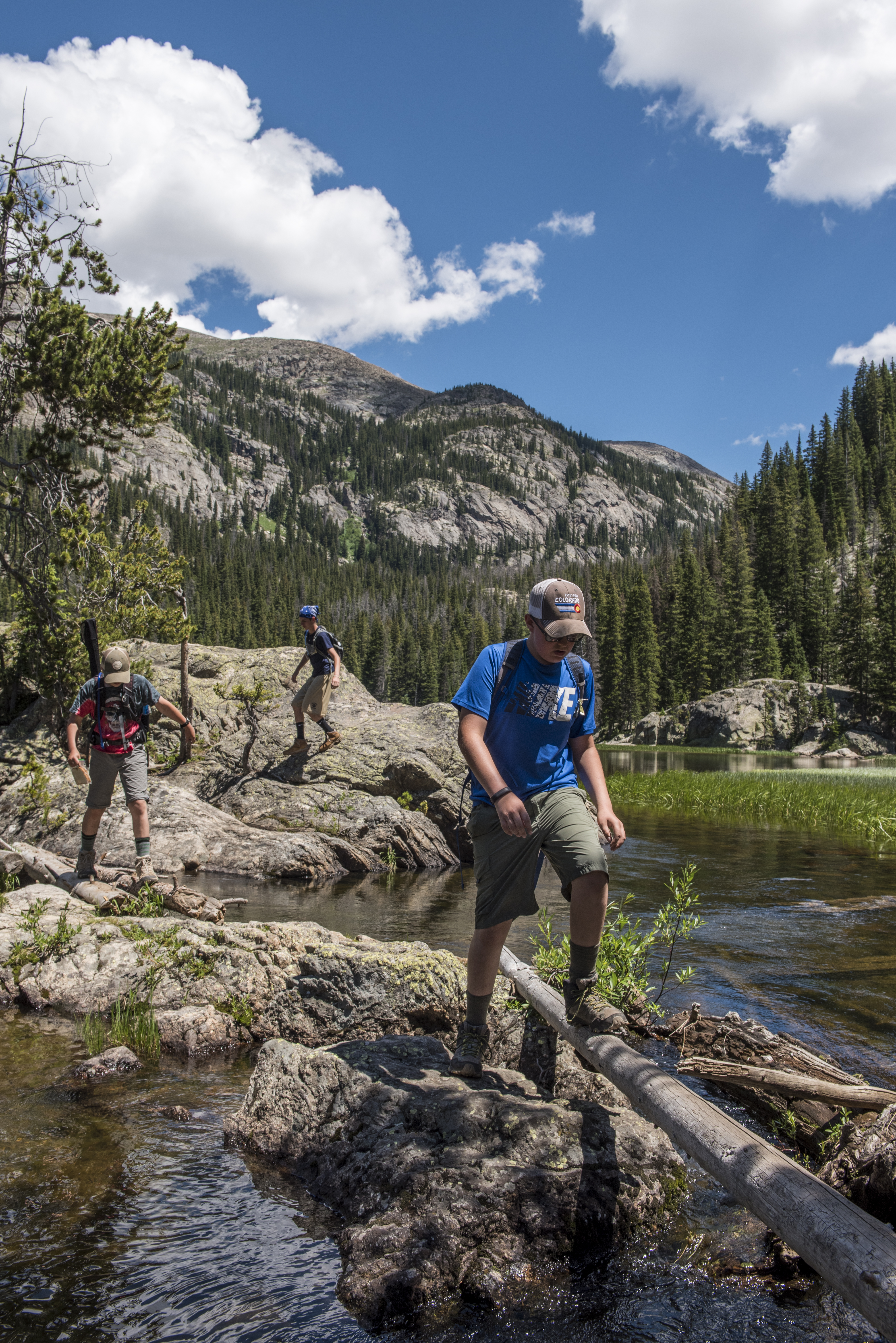 Scouts from PA explore Lone Pine Lake in Rocky Mountain National Park, during a two week adventure trip to Colorado